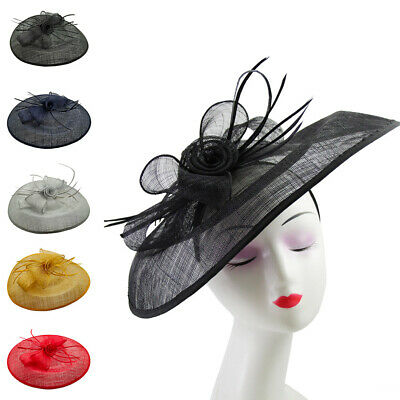 Large Flower Feather Oval Hair Hat Fascinator Headband Wedding Royal Ascot