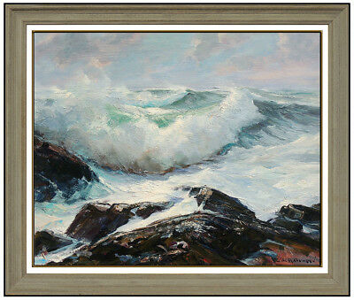 EMILE A. GRUPPE Large Gloucester Bass Rocks Oil Painting On Canvas Signed Art