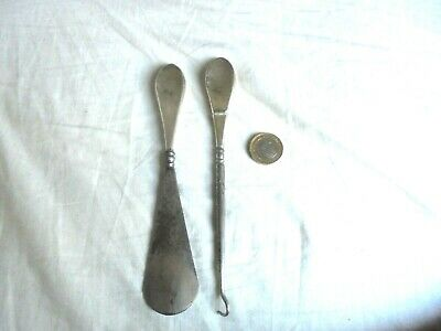 Silver Button Hook And Shoe Horn Steel Ends Chester J& Rg