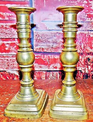 Antique Georgian Brass English Candlesticks, Pair, C.1790-1830 Push Up