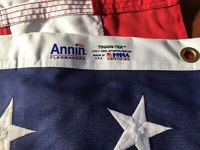 5x8 FT Annin US American Flag Tough Tex 2 Ply Poly Commercial Embroidered Stars