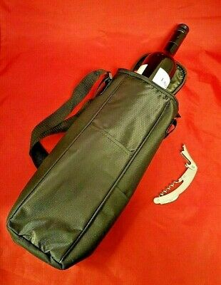 Insulated Wine Bag with Carry Strap and Wine / Bottle Opener Black with Pockets