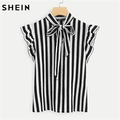 5de0b8753c SHEIN Summer Top Elegant Work Women Blouses Cap Sleeve Black and White Tie  Neck