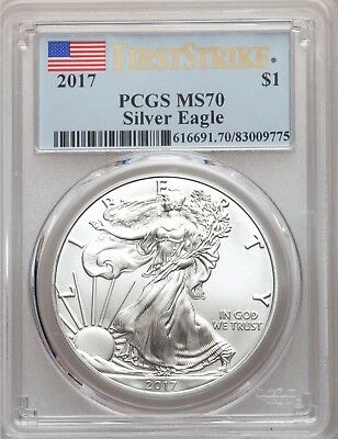 2017 PCGS MS70 First Strike Silver Eagle Flag Label PQ GEM BU MS70
