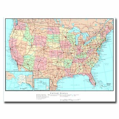 United States US Road Map 24x32 20x27inch Silk Poster Art Print Cool Gifts Hot