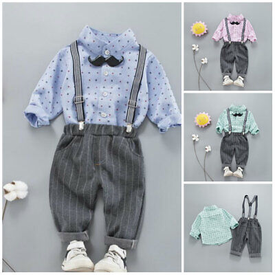 2pcs baby outfits cotton Shirt+ bowTie + pants baby boys wedding birthday tuxedo