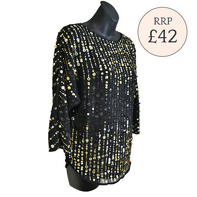 Ex River Island Black Sequin Embellished Top Size XS - L RRP £42