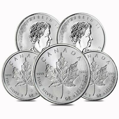 Lot of 5 - 2019 1 oz Silver Canadian Incuse Maple Leaf .9999 Fine $5 Coin BU