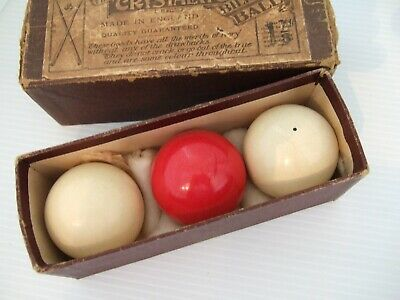 """Vintage Antique Box Set Of Crystalate Billiards Balls 1 5/8"""" Made In England"""