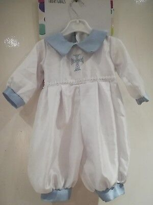 231a2ad1e Baby Boys White & Sky Christening Romper/Outfit/Suit,Cap, Celtic Cross