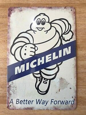 Vintage Retro Style Metal Tin Signs Poster Michelin White Tyre Cave Wall Home