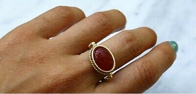 14K Yellow Solid Gold Egyptian Made Carnelian Scarab Bezel Ring Size 6.5 Egypt