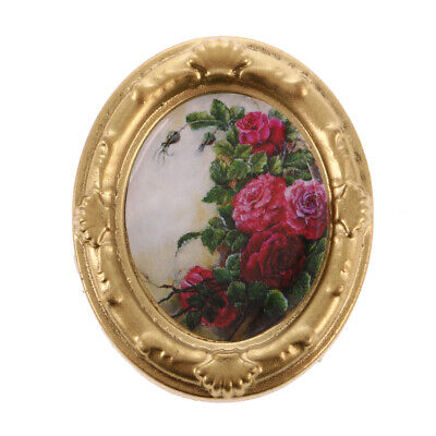 Dollhouse Miniature Framed Flower Picture Painting for Doll House Wall Decor