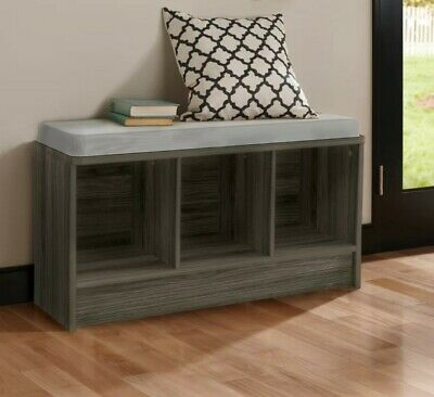 Pleasing Gray Closetmaid Cube Storage Bench With Seat Cushion Machost Co Dining Chair Design Ideas Machostcouk
