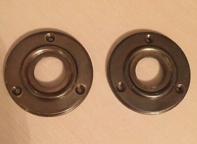 2 X Solid Brass Antique Finish Door Knob Back Plate Roses