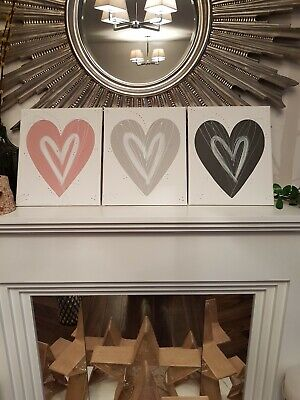New Blush pink & grey silver Heart wall art picture canvas bedroom hall kitchen