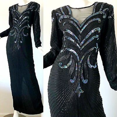 dfc5b2a60c0 Vintage 1980s Black Sequin Dress Scala 80s Beaded Flapper Silk Evening Gown  S