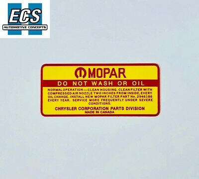 1968 1969 1970 1971 Mopar Air Cleaner Decal Do Not Wash, NOS Quality, EXACT