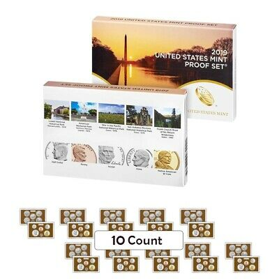 """Lot of 10 - 2019 US Mint Proof 10-Coin Set Comm. (w/o Lincoln """"W"""" Penny)"""