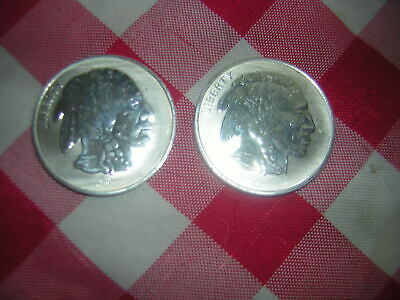 lot of 2 Buffalo Indian Head 1 Troy Oz .999 Fine Silver Liberty Coin Rounds