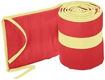 """Babykidsbargains Solid Colored Stripe Cradle Bumper, Red/Yellow, 18"""" x 36"""""""