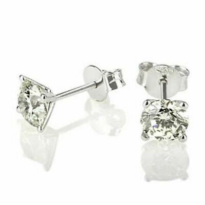 1.4 Ct Certified Solitaire Round Cut Diamond 14K White Gold Stud Post Earrings