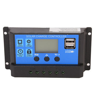 12V/24V Solar Panel Battery Regulator Charge Controller 30A PWM LCD W0
