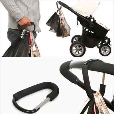 Buggy Clips Black Silver Large Pram Pushchair Shopping Bag Hook Mum Carry Clip