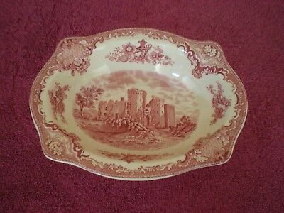 """Johnson Bros. England Old Britain Castles Red 9""""X7"""" Oval  Serving Bowl-Excellent"""