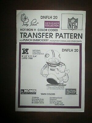 1990 Pretty Punch Iron-on Punch Embroidery Pattern NFL Green Bay Packers