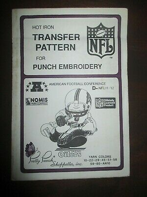 1987 Pretty Punch Iron-on Punch Embroidery Pattern NFL Houston Oilers
