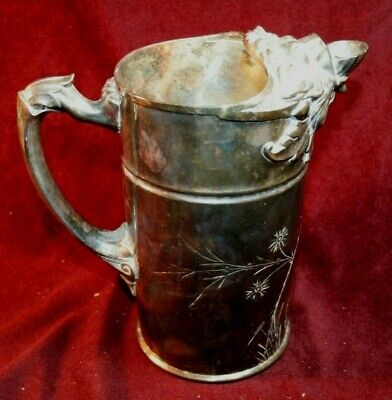 Impressive Silver Plate Water Pitcher - Lion Head Spout - James Tufts Boston