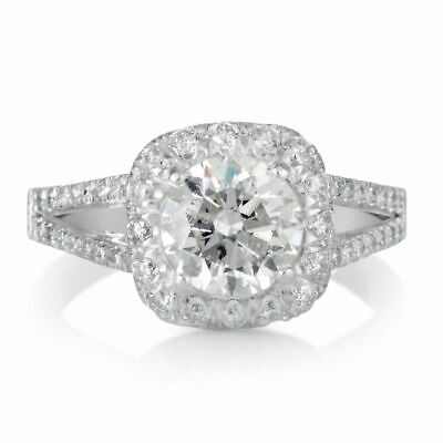 3.00 ct Round Cut D/SI1 Cushion Halo Diamond Engagement Ring 14K White Gold