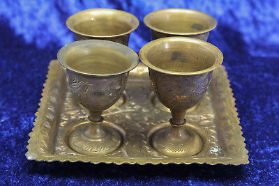 Vintage Brass Goblets and tray British India