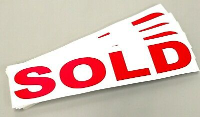 SOLD Vinyl Sticker Decal 365 x 90mm Gloss Finish Red Letters on White Back x88