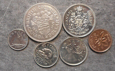 Canada  1971 coins to British Colombia One Dollar   ex Set some light tone