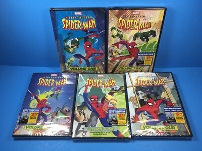 The Spectacular Spider-Man Vol. 1-5,Animated Series DVD Lot , Complete