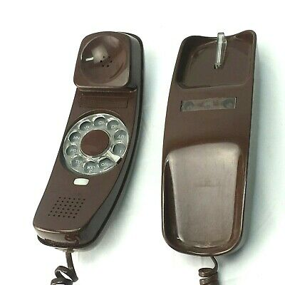 Western Electric Vintage Retro Choc Brown Trimline Telephone Rotary dial wall