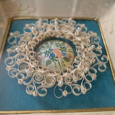 Vintage 1971 Signed Original Quilled Mixed Media Paper Painting Velvet Pearls