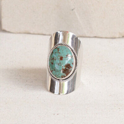 Women Vintage 925 Silver Turquoise Gemstone Gypsy Ring Wedding Bridal Jewelry