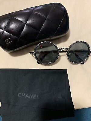 f937a6063fe AUTH CHANEL 71140 L0844 3N Silver Gray Round Pearls Mirrored Runway ...