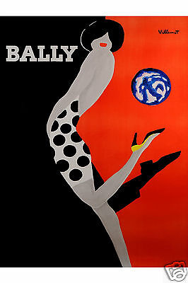 Bally Print villemot French art painting choose sizes  poster vintage red