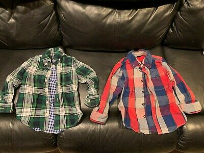 Lot of 2 Boy's Baby Gap 100% Cotton Plaid Flannel shirts- Green/Blue/Red - Sz 4