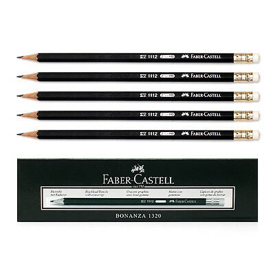 [FABER CASTELL] 12 Pieces Black Faber HB Pencils with Eraser Drawing & Lettering