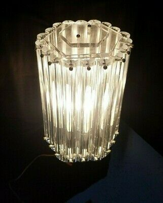 1546353788eb VTG MCM Lucite Ribbon Hollywood Regency Acrylic Lamp Post Light Fixture  Retro