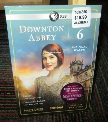 Downton Abbey: Season 6 - The Final Season 3-Disc Dvd Set, Masterpiece, New