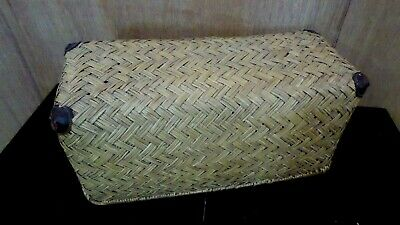 Antique Woven Cane Travel Chest Moses Basket Vintage Car Chest Storage Case #3