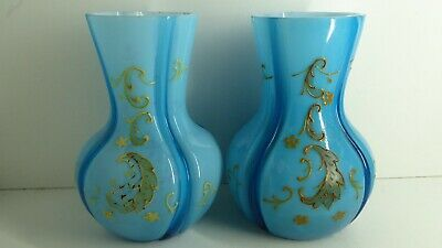 Pair Antique Victorian Blue Cased Glass Hand Painted