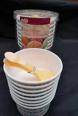 32 x ICE CREAM TUBS CUPS with  SCOOPS Party Van Parlour