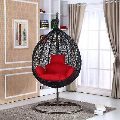 Outdoor Wicker Swinging Chair Hanging Hammock Chair w/Stand Patio Porch Swing